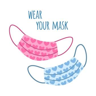 Baner internetowy wzywający do noszenia maski na twarz w celu ochrony dróg oddechowych podczas pandemii koronawirusa. ilustracja z różowymi i niebieskimi maskami na twarz z sercami.