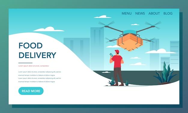 Baner internetowy z dostawą żywności. dostawa online. dron dostawczy z paczką. nowoczesna technologia obsługi klienta. strona docelowa dostawy jedzenia.