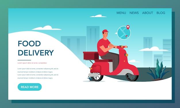 Baner internetowy z dostawą żywności. koncepcja dostawy online. zamów w internecie i czekaj na kuriera. strona docelowa dostawy jedzenia.