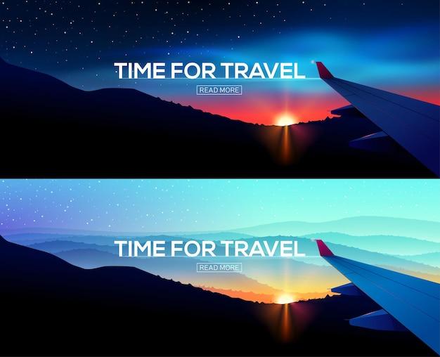 Baner internetowy z widokiem na skrzydło samolotu podróż służbowa czas na podróż