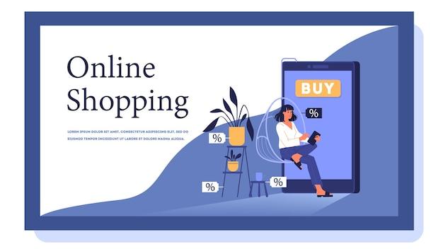 Baner internetowy zakupów online. obsługa klienta i dostawa, śledzenie i zakup. baner internetowy e-commerce. zakupy online i marketing mobilny. ilustracja