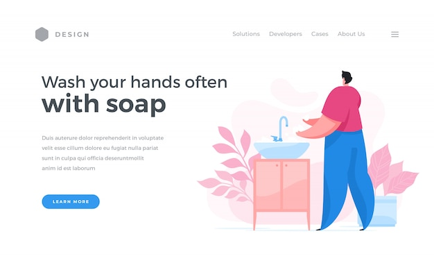Baner internetowy zalecający częstsze mycie rąk mydłem