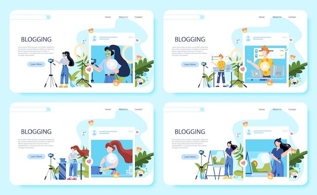 Baner internetowy zestaw koncepcji blogowania. idea kreatywności i tworzenia treści, nowoczesny zawód. postacie na swoim blogu nagrywają wideo kamerami.
