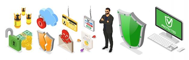 Baner izometryczny bezpieczeństwa cybernetycznego. hacking i phishing. guard chroni komputer przed atakami hakerów, takimi jak kradzież hasła, karty kredytowej i spamu. internet security wektor z izometrycznymi ikonami ludzi