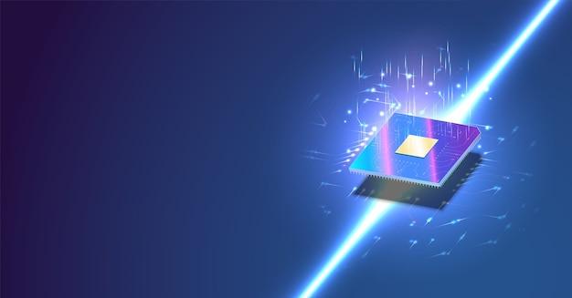 Baner izometryczny procesora. kontrola koncepcji procesorów komputerowych. futurystyczny procesor z mikroczipem