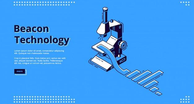 Baner izometryczny technologii latarni z mikroskopem