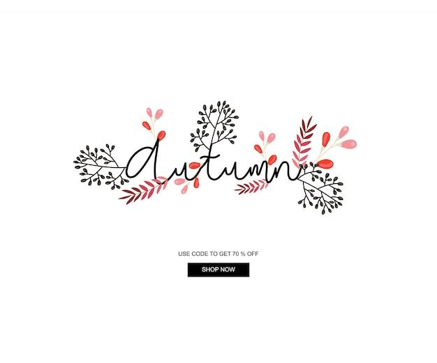 Baner jesienny, transparent sprzedaży i rabatów, element automn i szablon internetowy.