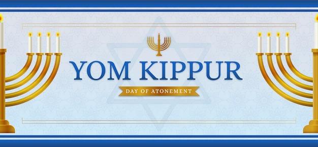 Baner jom kippur ze świecami