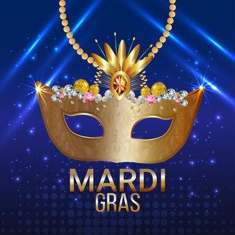 Baner karnawałowy lub kartkę z życzeniami ze złotą maską