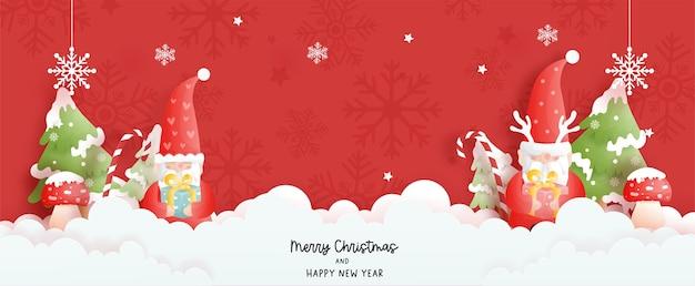 Baner kartki świąteczne z krasnoludkami