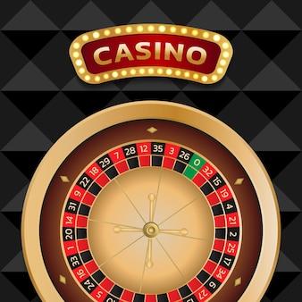 Baner kasyna z nowoczesnym kołem ruletki może być używany jako plakat lub reklama ulotki