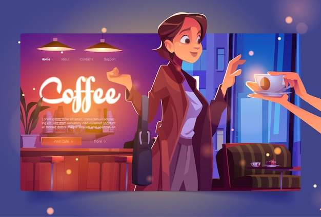 Baner kawy z kobietą w kawiarni