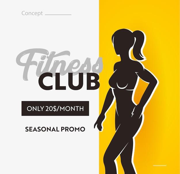 Baner klubu fitness, sezonowa promocja na wizytę w siłowni. wyprzedaż plakat z sylwetką wysportowanego, szczupłego kobiecego ciała
