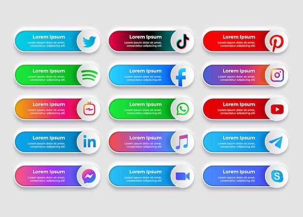 Baner kolekcji logo mediów społecznościowych