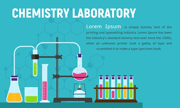 Baner koncepcja laboratorium chemii, płaski.