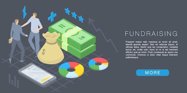 Baner Koncepcja Pozyskiwania Funduszy, Styl Izometryczny Premium Wektorów