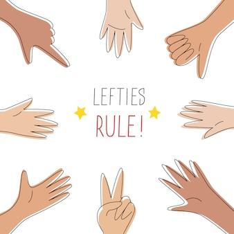 Baner koncepcja reguły lewicy. 13 sierpnia, obchody międzynarodowego dnia leworęcznego. lewe ręce ułożone w krąg, łączcie się, pomagajcie sobie i wspierajcie. karta zdarzenia, styl linii. ilustracja