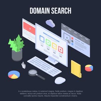 Baner koncepcja wyszukiwania domen, izometryczny styl