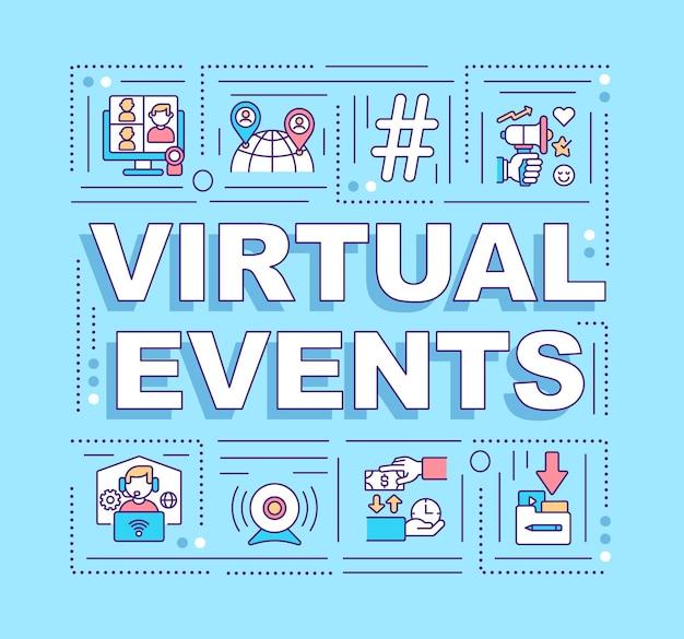 Baner koncepcje słów wirtualnych wydarzeń