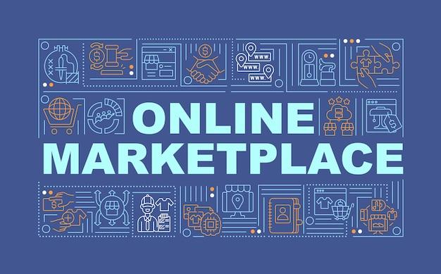 Baner koncepcje słowo rynku online. zdalna sprzedaż produktów. infografiki z liniowymi ikonami na granatowym tle. na białym tle twórczej typografii. wektor ilustracja kolor konturu z tekstem