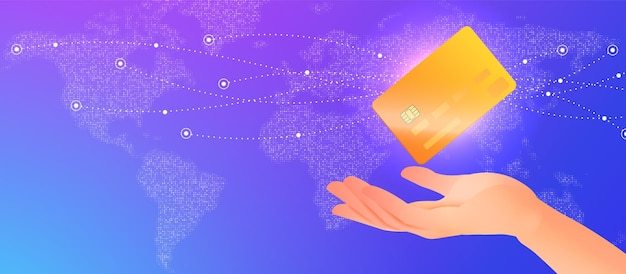 Baner koncepcji bankowości elektronicznej z ręką trzyma kartę kredytową na tle cyfrowej mapy świata
