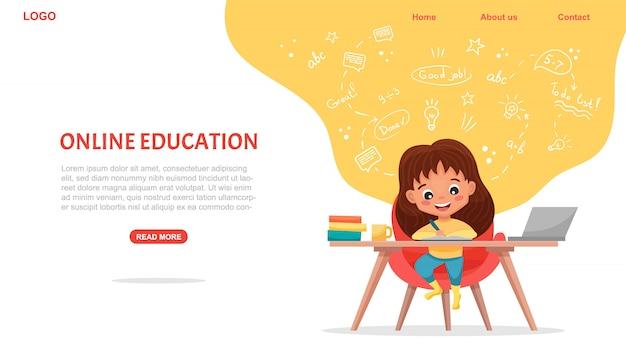 Baner koncepcji e-learningu. edukacja online. śliczna szkolna dziewczyna używa laptop. ucz się w domu z ręcznie rysowanymi elementami. kursy internetowe lub samouczki, oprogramowanie do nauki. ilustracja kreskówka płaski
