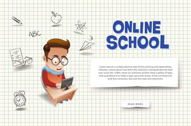 Baner koncepcji e-learningu. edukacja online. szablon banera na stronę internetową