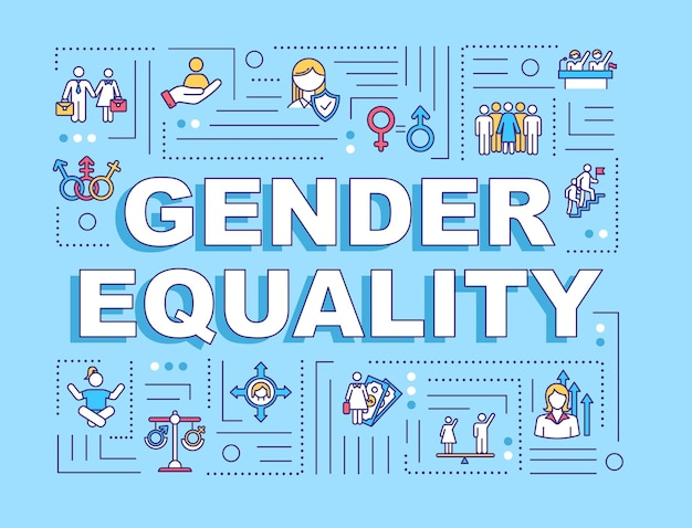 Baner koncepcji słowa równości płci. nierówności społeczne. dyskryminacja płci. prawa człowieka. infografiki z liniowymi ikonami na niebieskim tle. typografia na białym tle. ilustracja wektorowa konturu rgb
