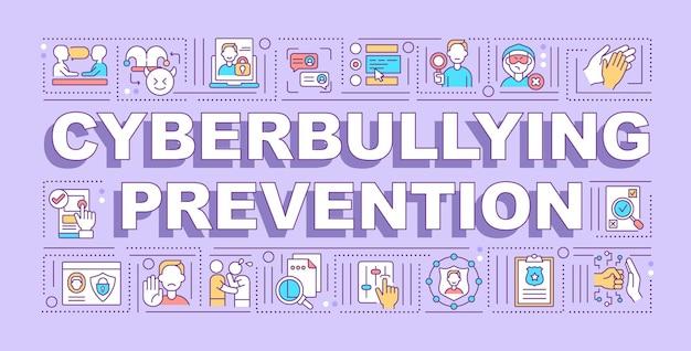 Baner koncepcji słowa zapobiegania cyberprzemocy