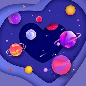 Baner kosmicznego serca - kształt 3d z płynnymi wyciętymi papierowymi kształtami tworzącymi warstwy galaktyki