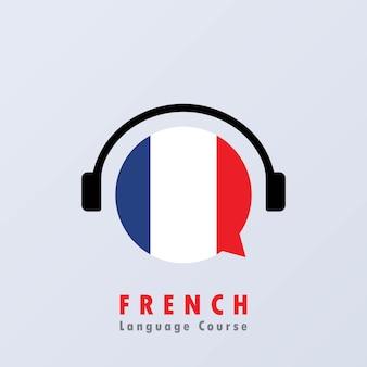 Baner kursu języka francuskiego. kurs cyfrowy. edukacja online. kursy językowe online. praktyka językowa. wektor eps 10. na białym tle.