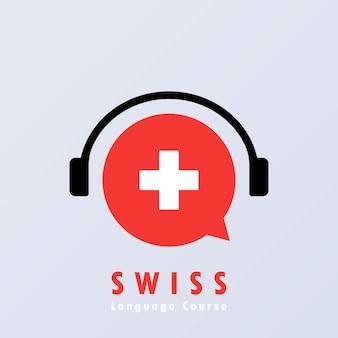 Baner kursu języka szwajcarskiego. nauka języka obcego. edukacja online. wektor eps 10. na białym tle.