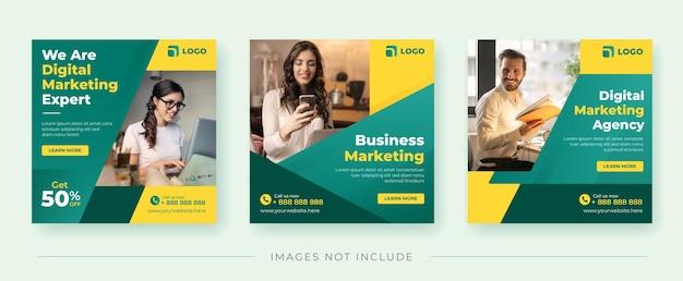 Baner kwadratowy agencji marketingu cyfrowego dla szablonu postu w mediach społecznościowych
