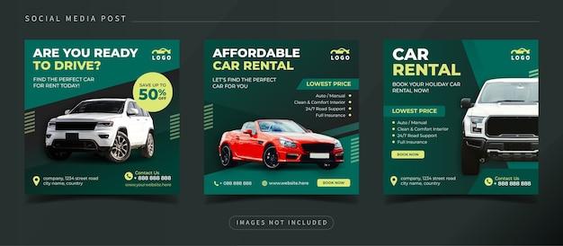 Baner kwadratowy wypożyczalni samochodów dla szablonu postu w mediach społecznościowych