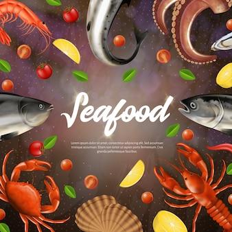Baner kwadratowy z owocami morza, menu,