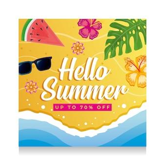 Baner lato. plaża i morze z tropikalnymi liśćmi i kwiatami. cześć sumer