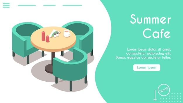 Baner letniej kawiarni. widok izometryczny na krzesła i stół, serwetki, świece, napoje. nowoczesne wnętrza restauracji. rezerwacja online, obsługa stolików. projekt szablonu banera, strona docelowa