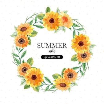 Baner letniej wyprzedaży z akwarelowym wieńcem kwiatowym