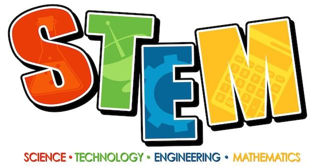 Baner logo edukacji stem na białym tle
