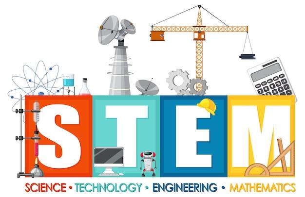 Baner logo edukacji stem z elementami ikony edukacji