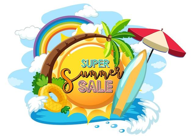 Baner logo super summer sale na białym tle