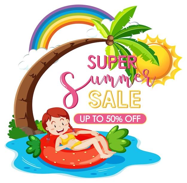 Baner logo super summer sale z dziewczyną leżącą na pierścieniu do pływania na białym tle