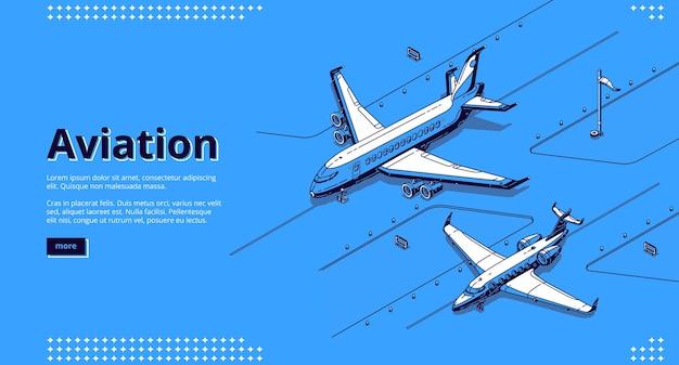 Baner lotniczy. izometryczne białe samoloty na pasie startowym na lotnisku na niebiesko