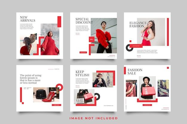 Baner lub kwadrat sprzedaży mody dla szablonu postu w mediach społecznościowych