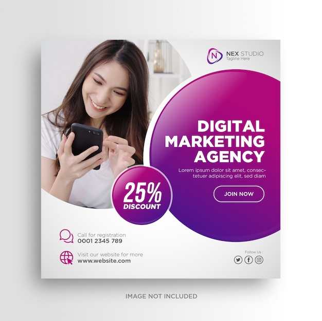 Baner lub kwadratowa ulotka w mediach społecznościowych marketingu cyfrowego