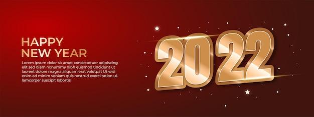Baner lub plakat szczęśliwego nowego roku 2022 wektor luksusowy tekst 2022 szczęśliwego nowego roku