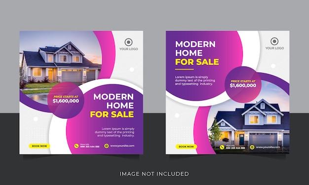 Baner lub szablon ulotki w mediach społecznościowych sprzedaży nieruchomości