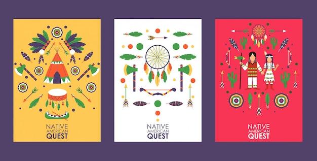Baner lub ulotka z symbolami kultury indian ameryki północnej, zaproszenie do gry quest, impreza w stylu indian amerykańskich,