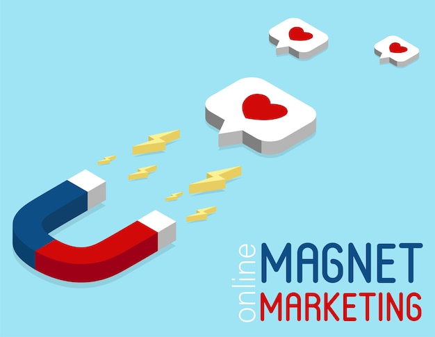 Baner marketingowy magnes w stylu izometrycznym. koncepcja marketingu w mediach społecznościowych online. kampania reklamowa w sieci społecznościowej. infografiki izometryczne. strategia utrzymania klienta.
