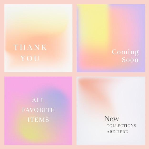 Baner marketingowy w mediach społecznościowych zestaw gradientowe pastelowe tło .